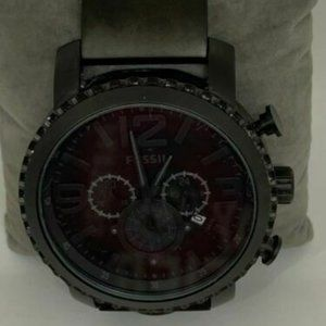 Fossil Men's Stainless Steel Black Dial Watch D217